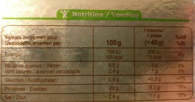 Saumon fumé bio - Valori nutrizionali - fr