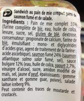 Saumon Salade Pain de mie complet - Ingrediënten