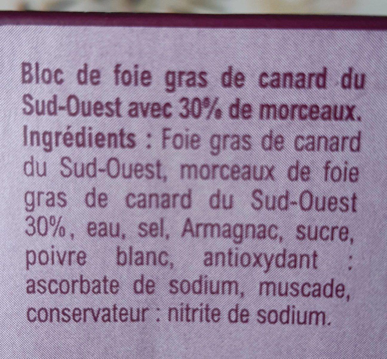 Bloc de foie gras de canard du sud -ouest - Ingrediënten - fr