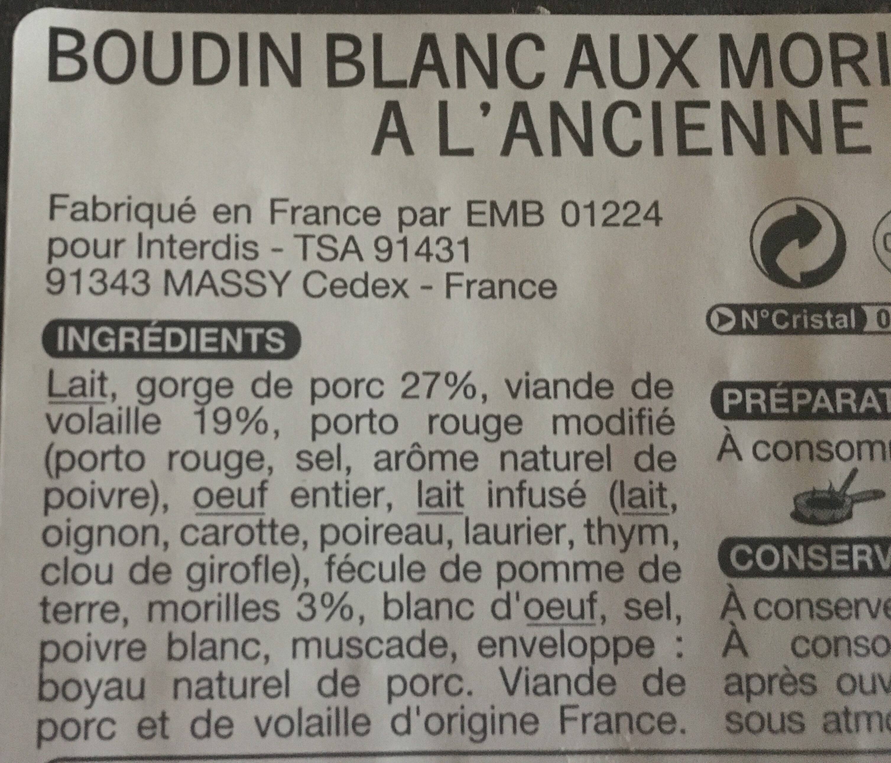 Boudins blancs aux morilles à l'ancienne - Ingrediënten - fr