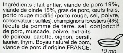 Boudin Blanc à l'ancienne Forestier - Ingrédients - fr