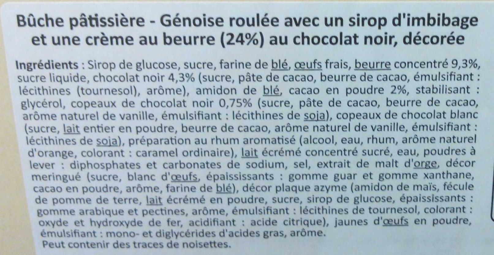 Bûche pâtissière chocolat noir - Ingrédients