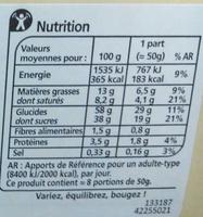 Bûche pâtissière chocolat noir - Informations nutritionnelles