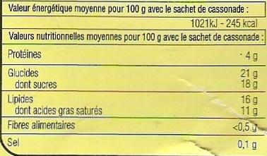 Préparation pour crème brûlée - Informations nutritionnelles - fr