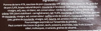 Saucisse et sa purée, sauce aux 2 moutardes - Ingredients