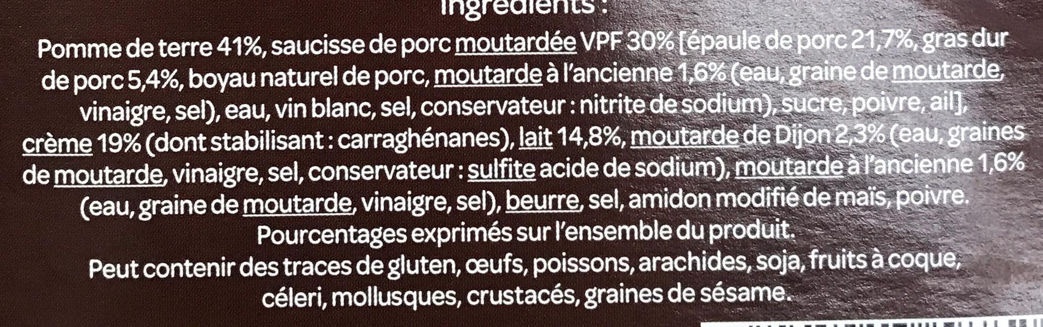Saucisse et sa purée, sauce aux 2 moutardes - Ingredients - fr