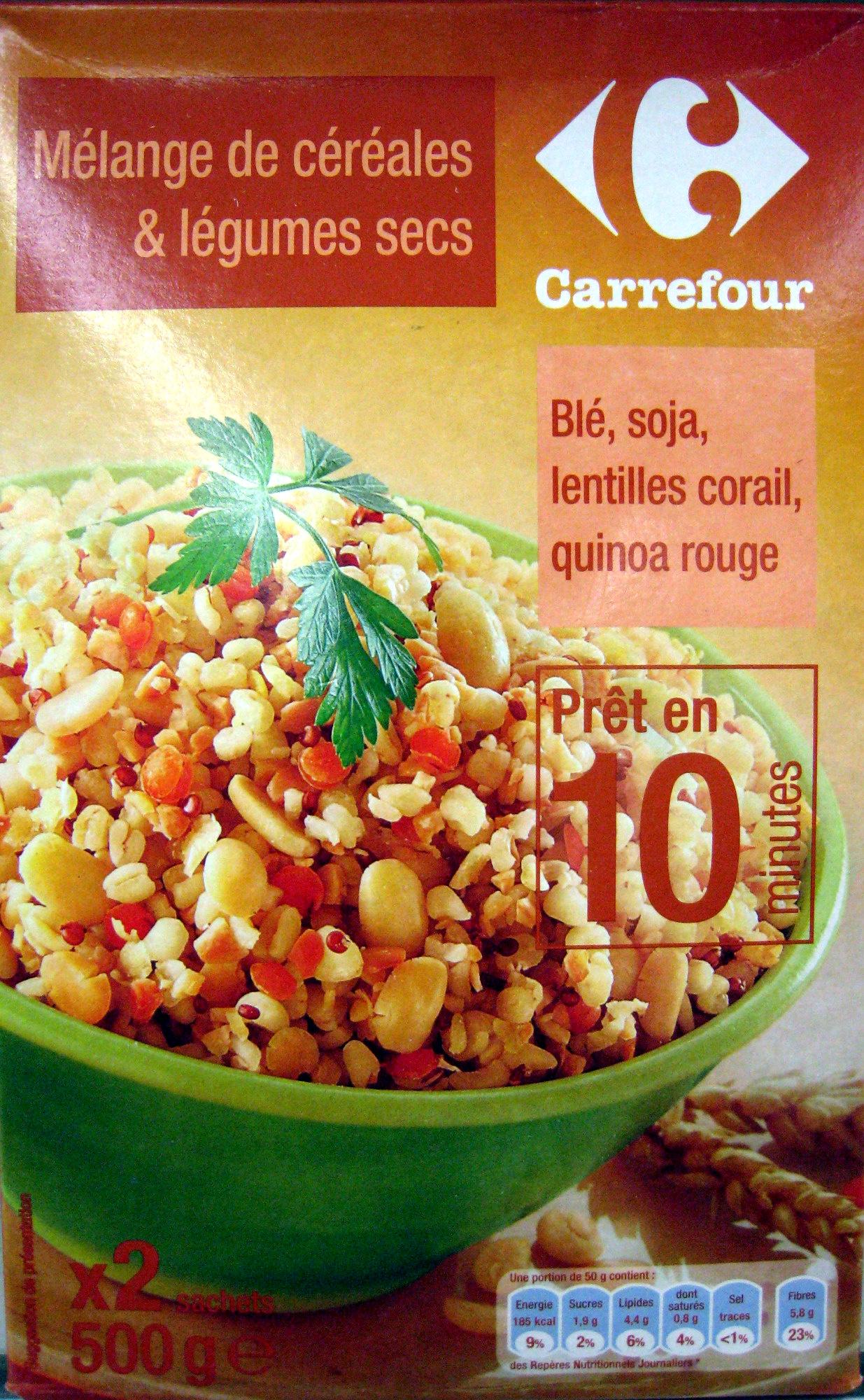 Mélange de céréales & légumes secs (Blé, soja, lentilles corail, quinoa rouge) - Product - fr