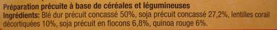 Mélange de céréales & légumes secs (Blé, soja, lentilles corail, quinoa rouge) - Ingrediënten - fr