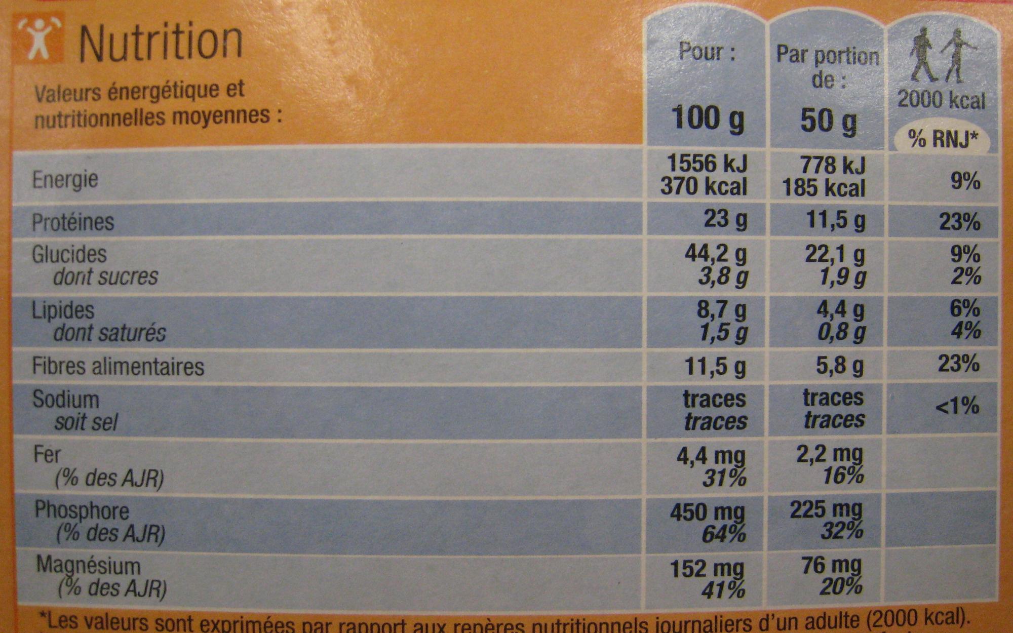 Mélange de céréales & légumes secs (Blé, soja, lentilles corail, quinoa rouge) - Voedingswaarden - fr