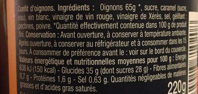 Confit d'oignons cuit au chaudron - Ingrediënten - fr