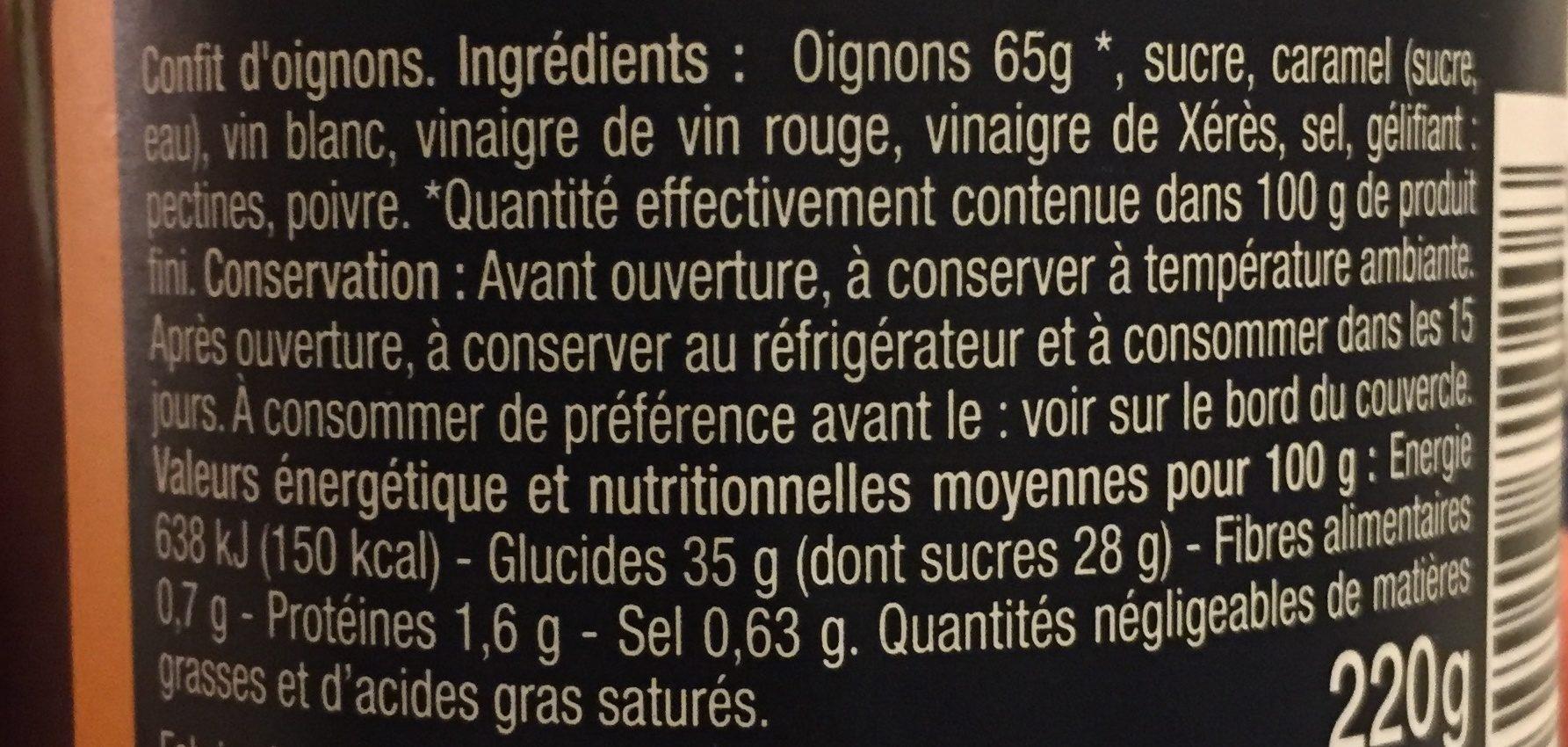 Confit d'oignons cuit au chaudron - Ingrédients - fr