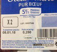 Steak haché pur boeuf 5% MG - Ingrédients - fr