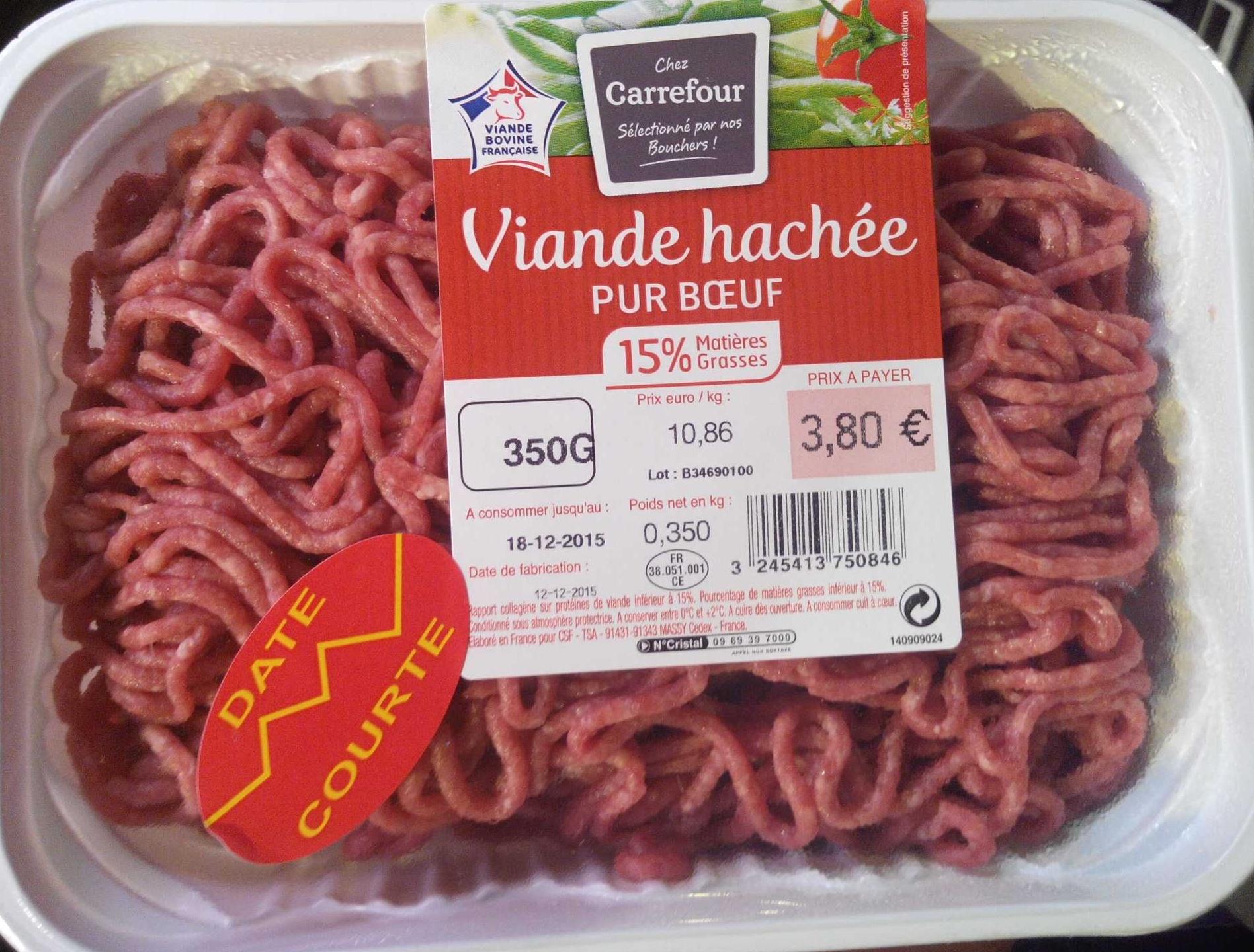 Viande hachée pur boeuf (15% MG) - Produkt - fr