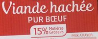 Viande hachée pur boeuf (15% MG) - Nährwertangaben - fr