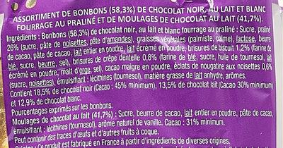 Œufs  praliné croustillant lait, noir, blanc et chocolat au lait - Ingredients - fr
