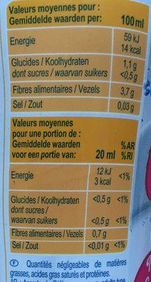 0% sucres Boisson concentrée à diluer avec édulcorants - Voedigswaarden