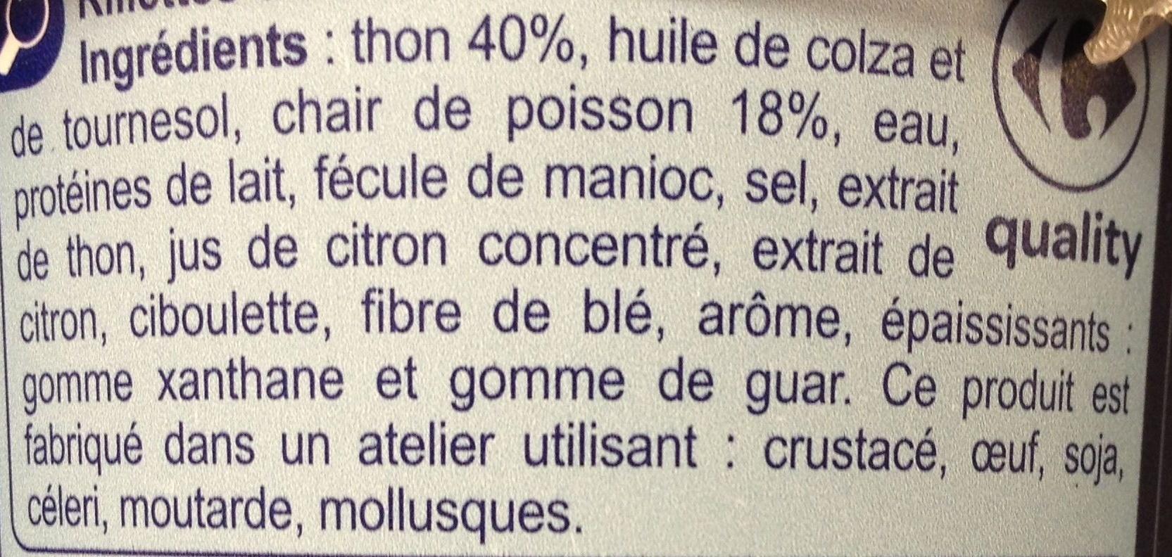 Rillettes De thon - Ingrédients