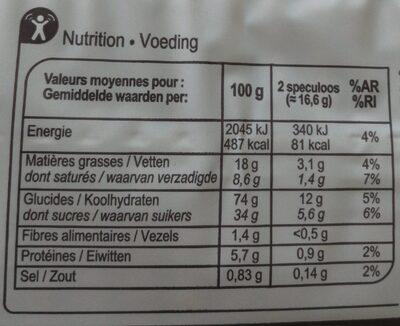Spéculoos Carrefour - Información nutricional - fr