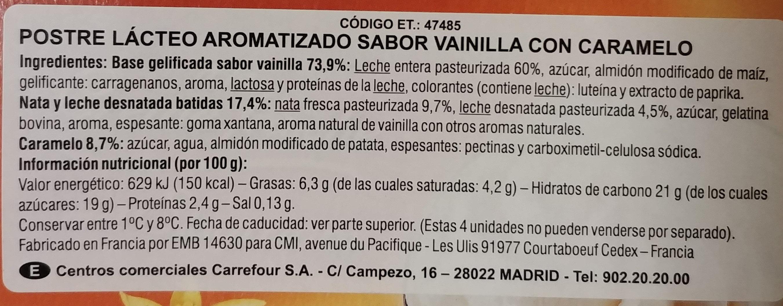 Liégeois saveur vanille - Ingredients - es