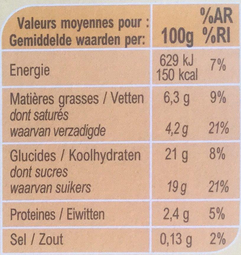 Liégeois saveur vanille - Informació nutricional - es