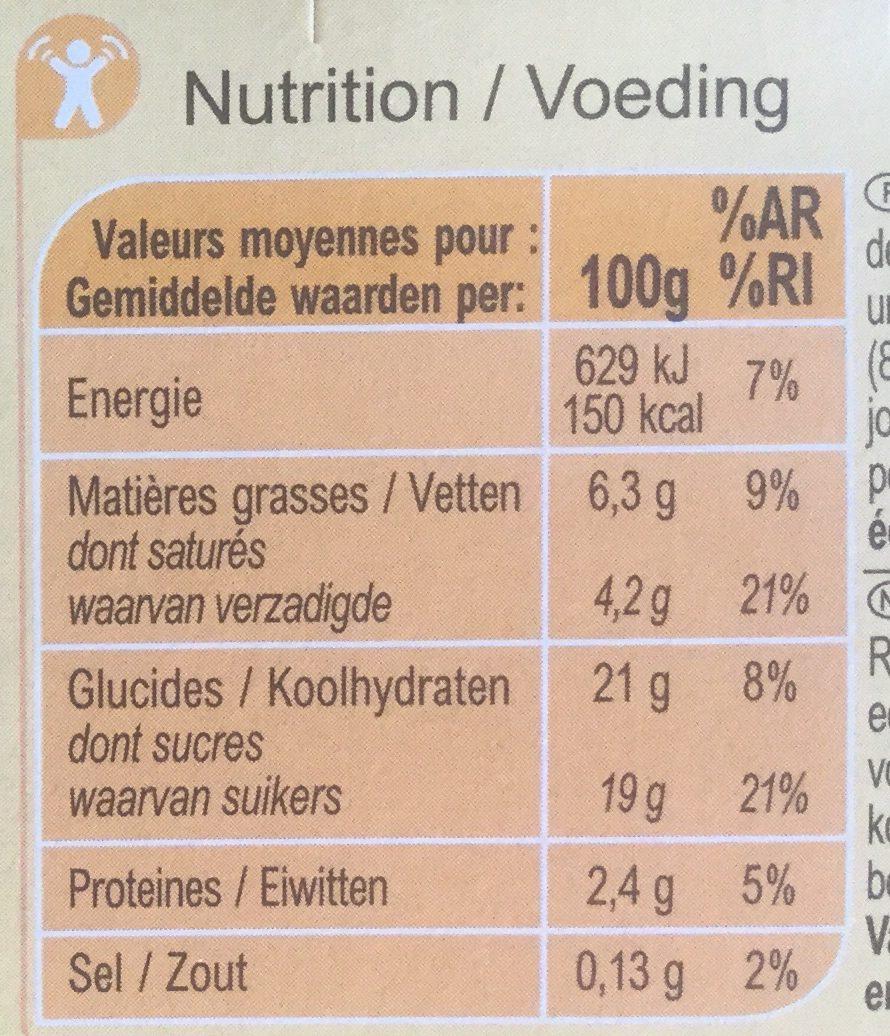 Liégeois saveur vanille - Valori nutrizionali - fr