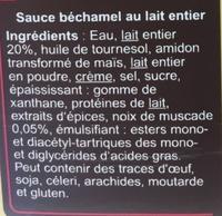 Sauce béchamel au lait entier et à la noix de muscade - Ingrédients - fr