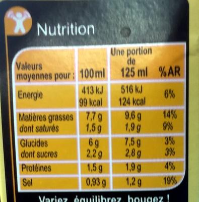 Sauce béchamel au lait entier et à la noix de muscade - Informations nutritionnelles - fr
