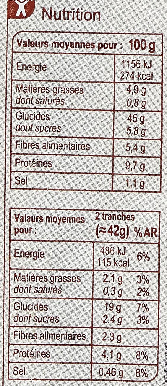 Pain de mie Moelleux - Valori nutrizionali - fr