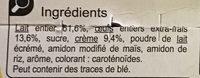 Crème aux œufs - Saveur vanille - Ingrédients