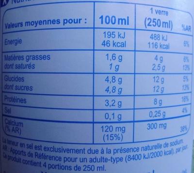 Lait Demi-Écrémé - Informations nutritionnelles