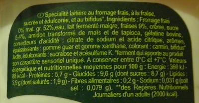Bifidus* Fraise - Ingrédients - fr