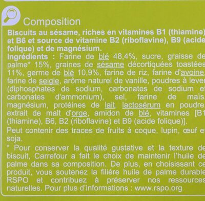 Biscuit croustillants sésame - Ingredients