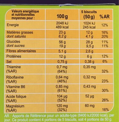 Biscuit Vitalité croustillants sésame - Nutrition facts - fr