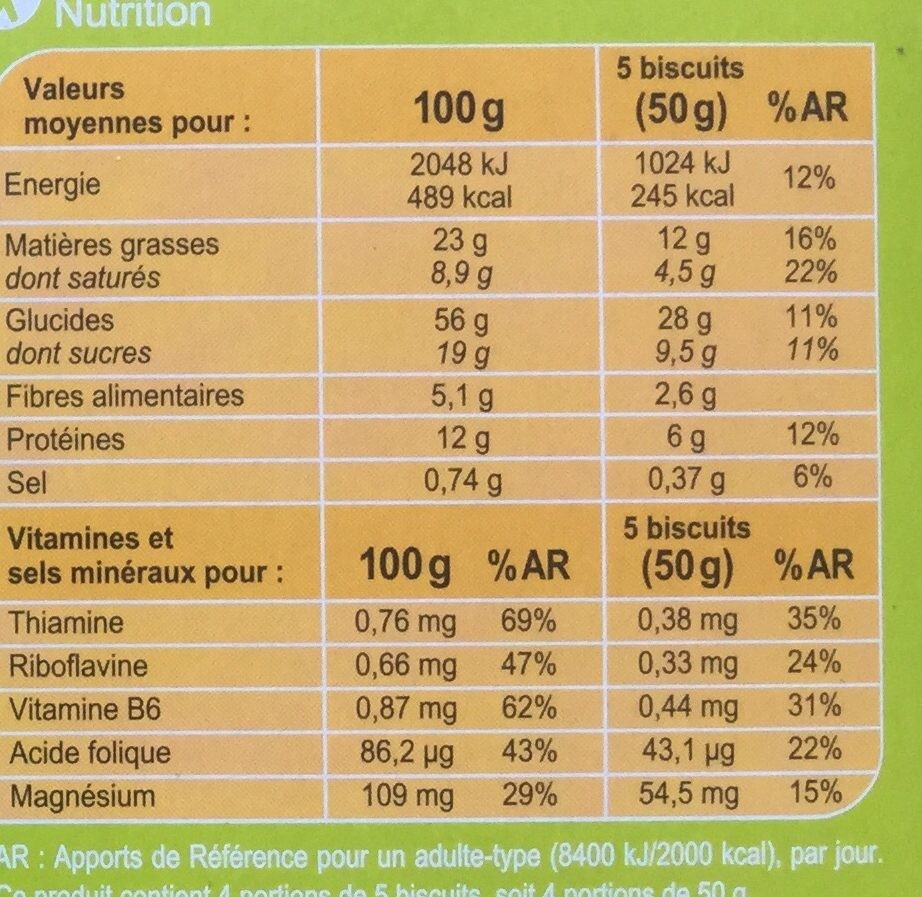 Biscuit croustillants sésame - Nutrition facts