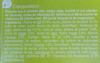 Biscuits vitalité 4 céréales et pépites de chocolat - Ingrédients - fr