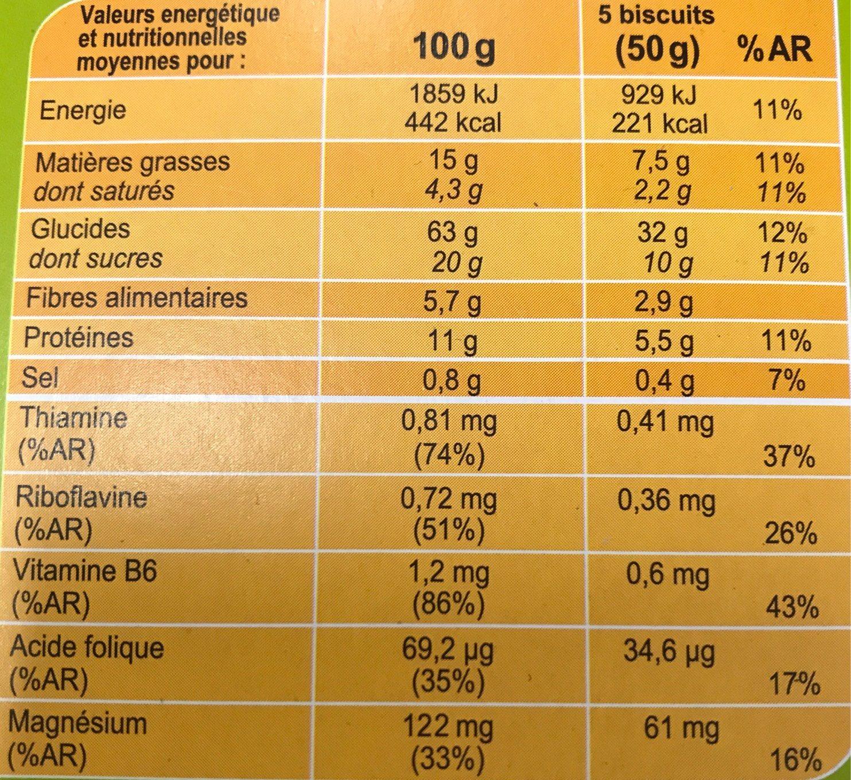 Biscuits vitalité 4 céréales et pépites de chocolat - Informations nutritionnelles - fr