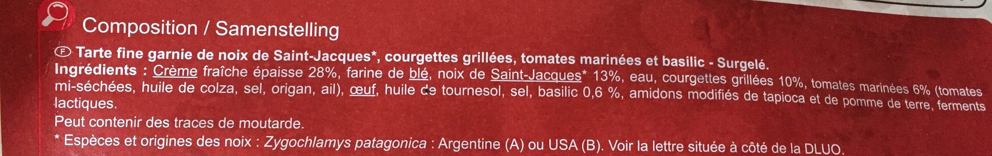 Tarte Fine, Noix de Saint-jacques et Courgettes grillées - Ingrediënten - fr