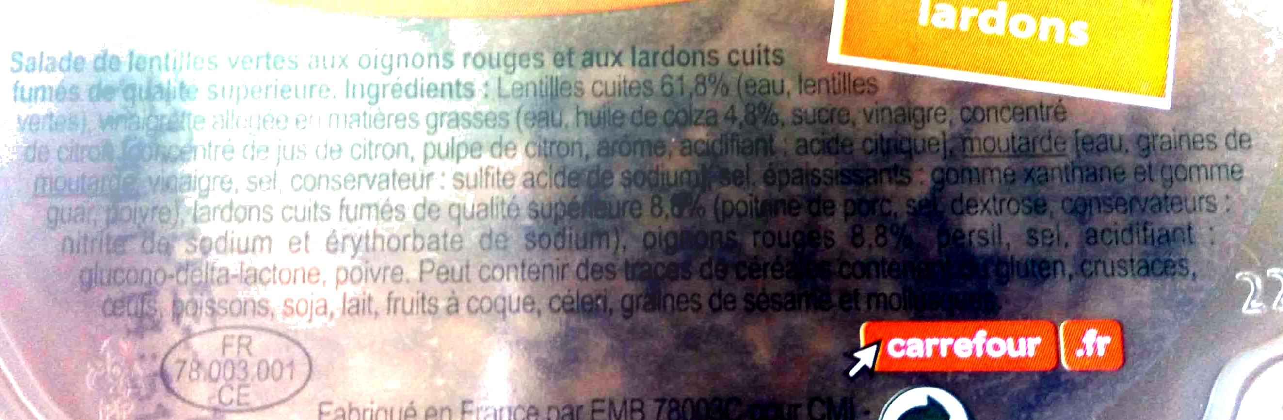 Lentilles Aux petits lardons - Ingrédients - fr