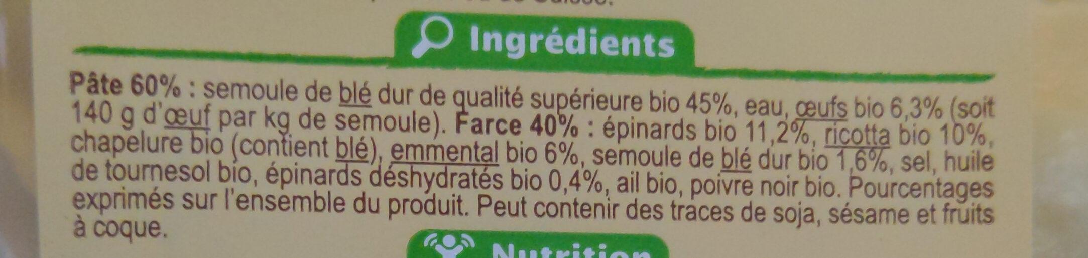 Ravioli Frais Bio épinard Et Ricotta, 250g - Inhaltsstoffe - fr