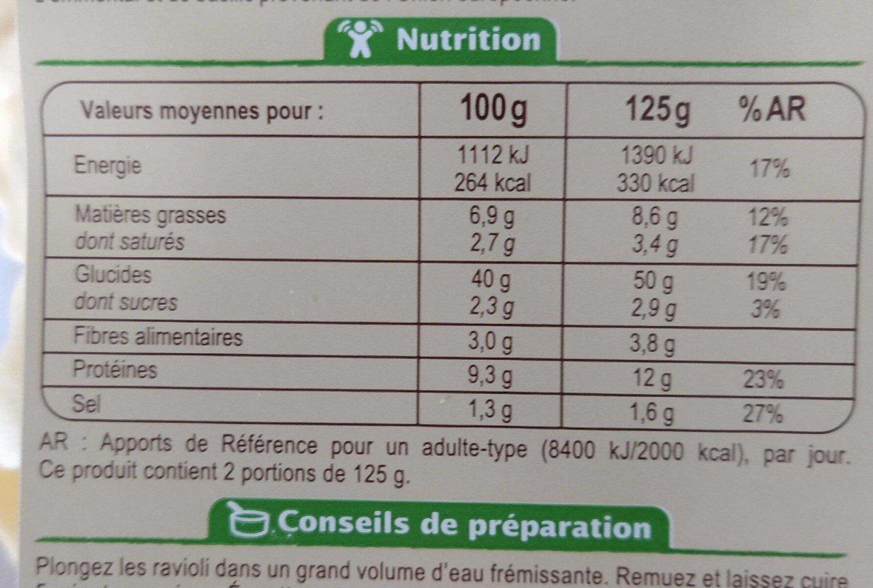 Pates fraiches Emmental basilic - Informations nutritionnelles - fr
