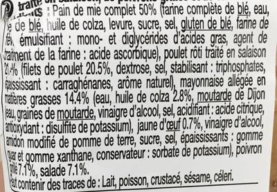 Poulet Poivrons Grillés Pain de mie complet - Ingrédients