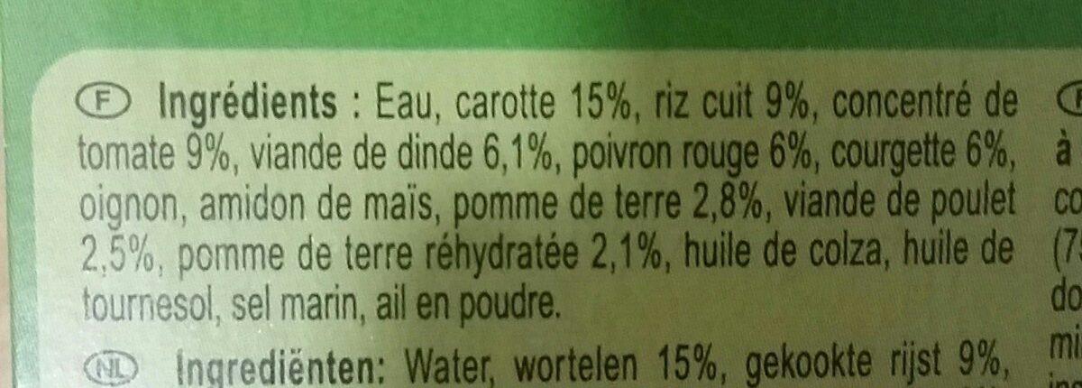 Légumes et volaille à la Basquaise Carrefour Baby - Ingrédients
