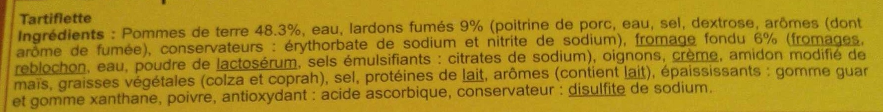 Tartiflette - Ingrédients