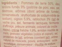 Tartiflette a la creme fraiche - Ingrédients - fr