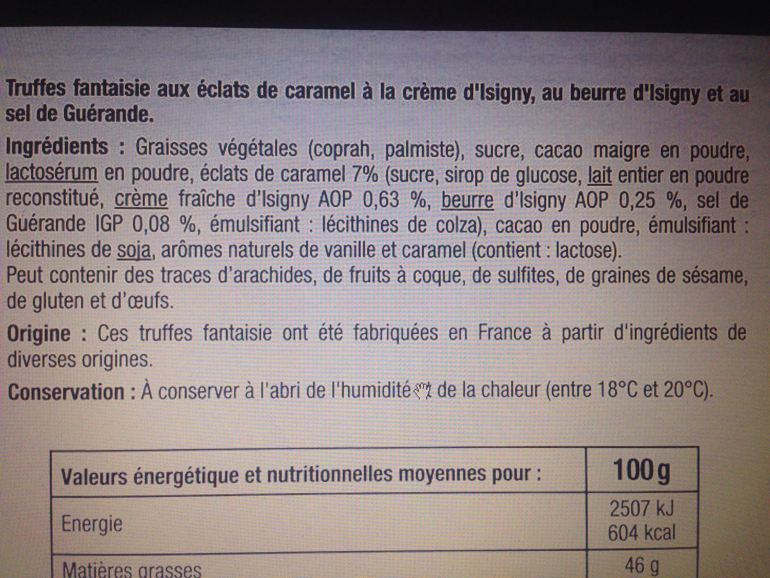 Truffes fantaisie  saveur caramel - Ingredients