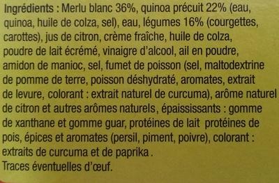 Merlu blanc sauce citron et quinoa aux légumes - Ingrédients