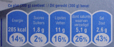 Plat minut' : Poisson à la crème et riz, Surgelé - Nutrition facts