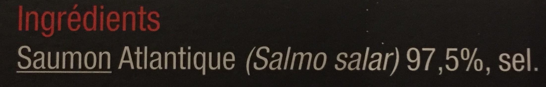 Saumon Atlantique fumé élevé dans les lochs d'Ecosse - Ingredients