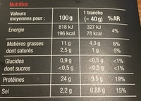 Saumon Atlantique fumé élevé dans les lochs d'Ecosse - Nutrition facts