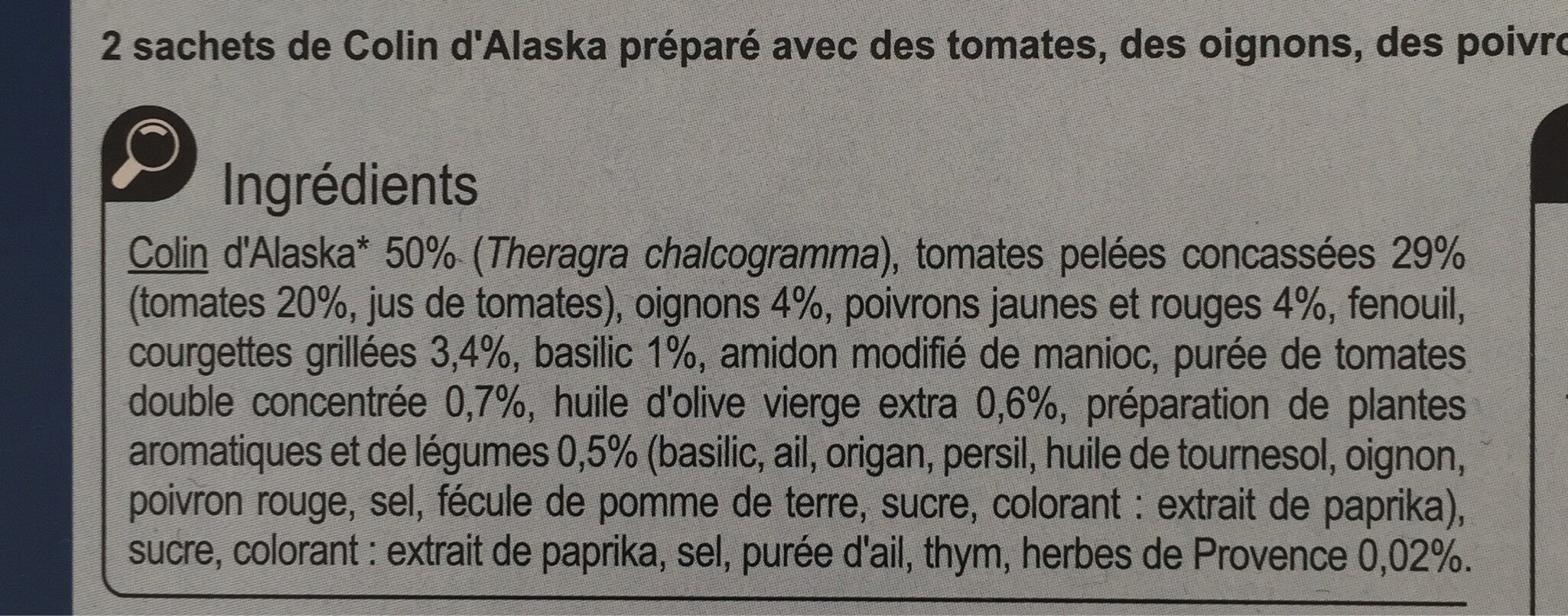 Colin d'Alaska sauce provençale - Ingredients - fr